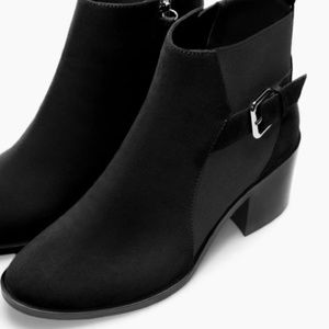 Zara Elastic Booties Ankle Boots With Buckle Sz 38